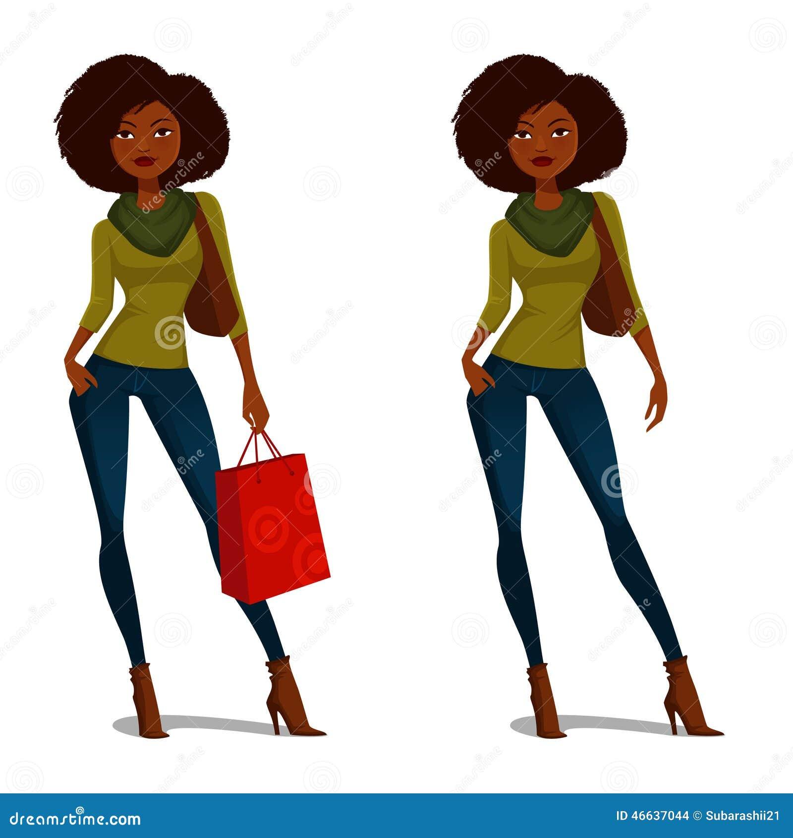 非裔美国人的女孩购物