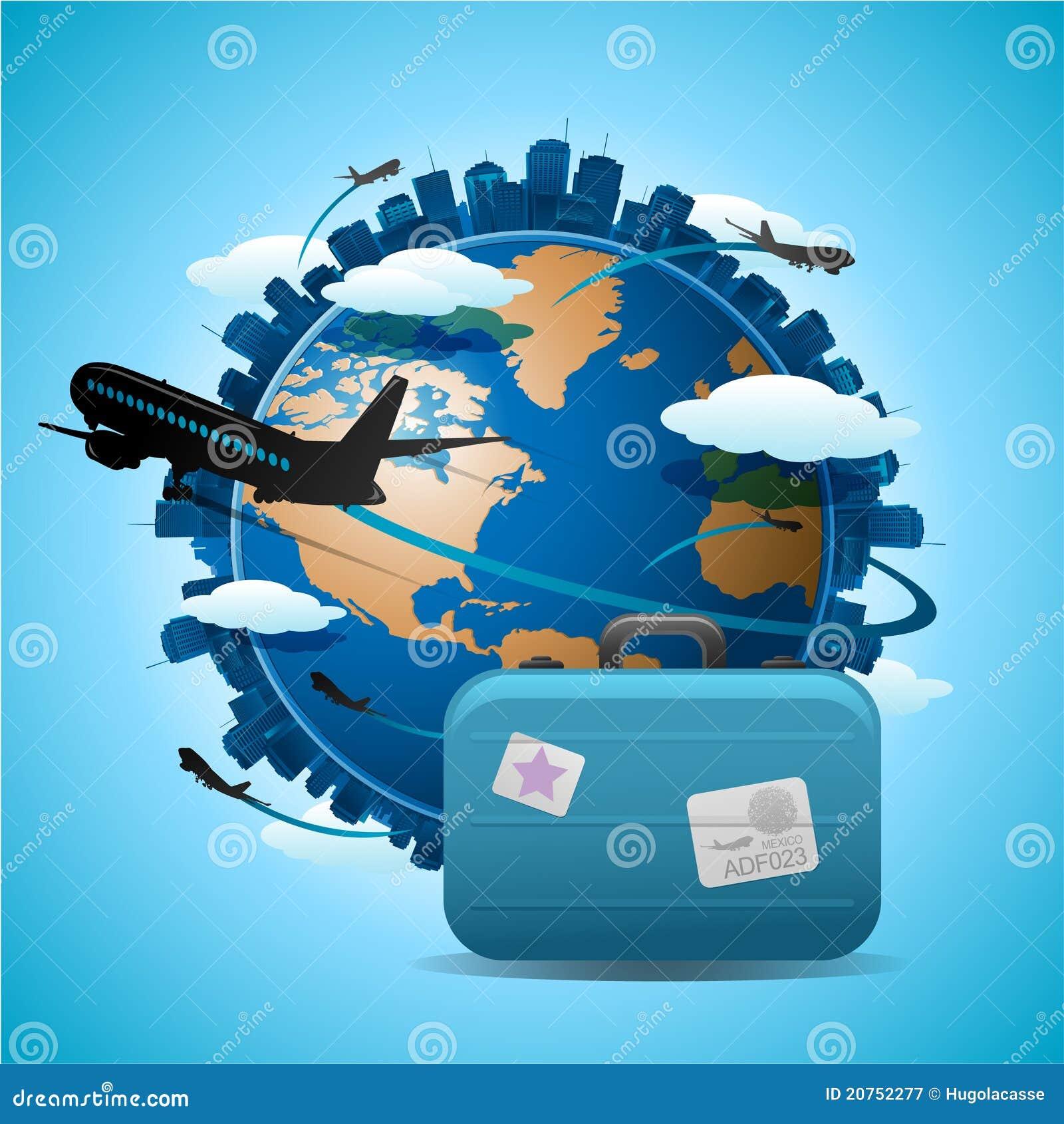 在概念地球旅行旅行附近的飞机.图片