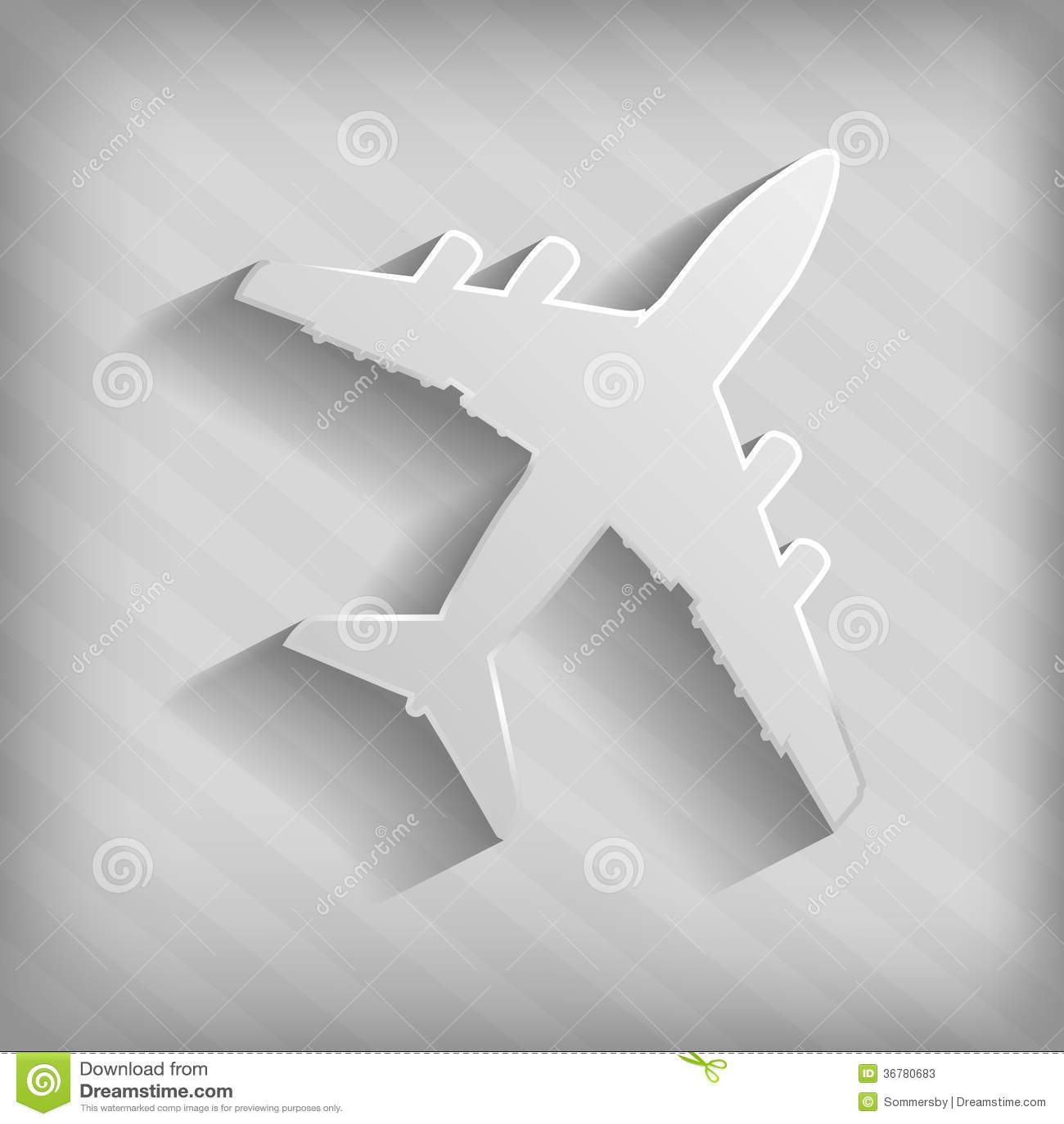 飞机灰色剪影 库存照片