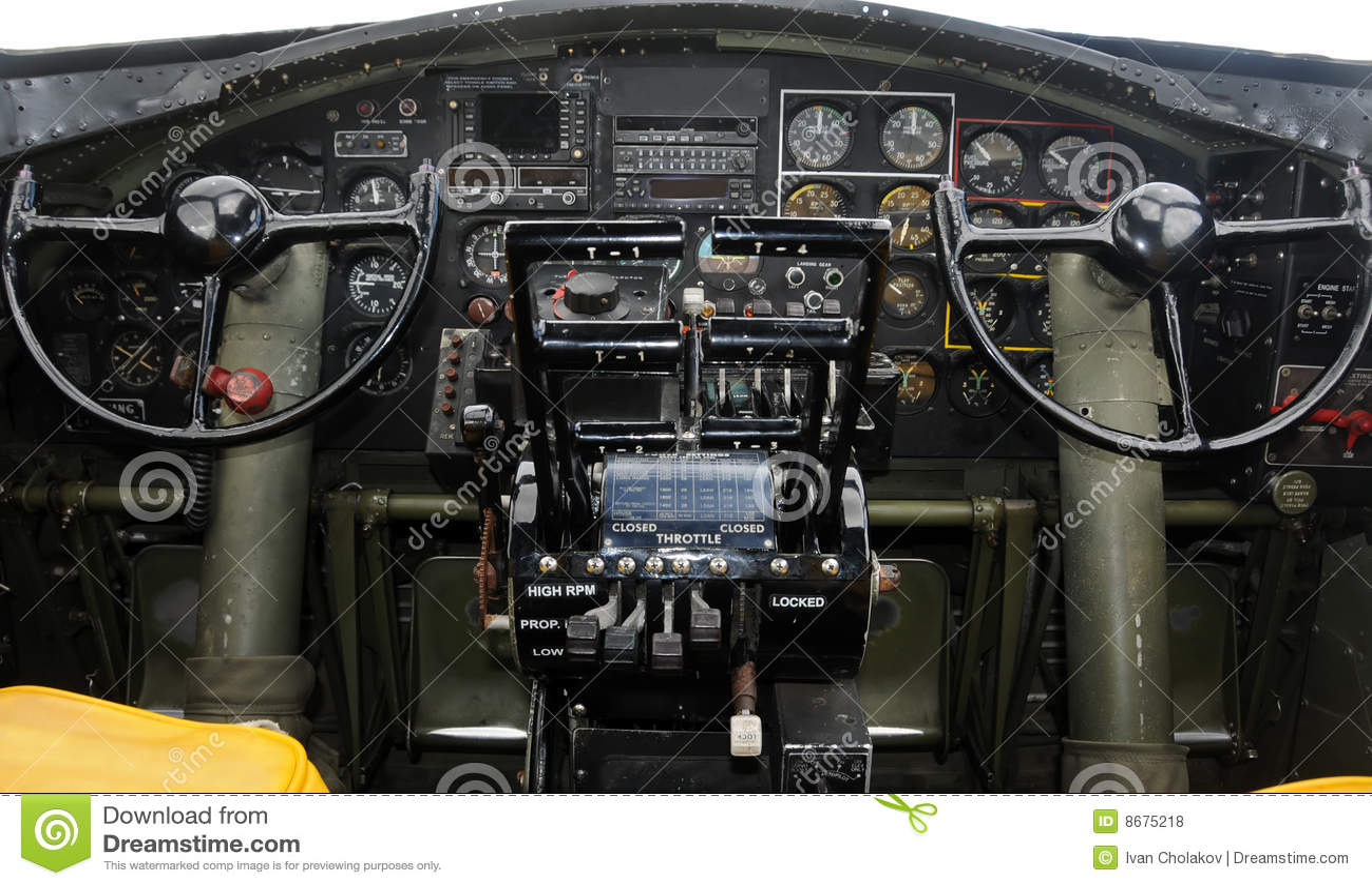 飞机驾驶舱 免版税库存照片