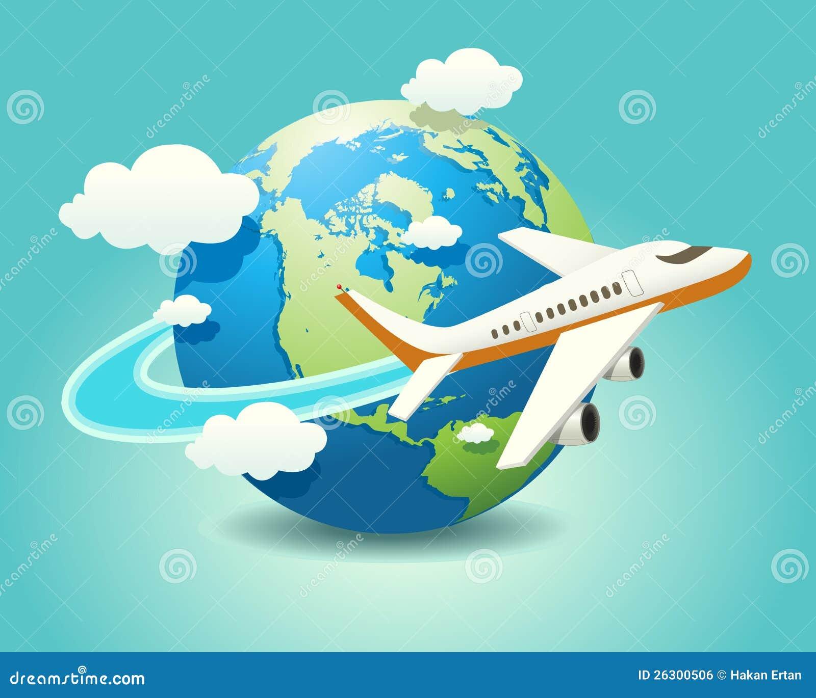 飞机旅行的向量例证在地球的.图片