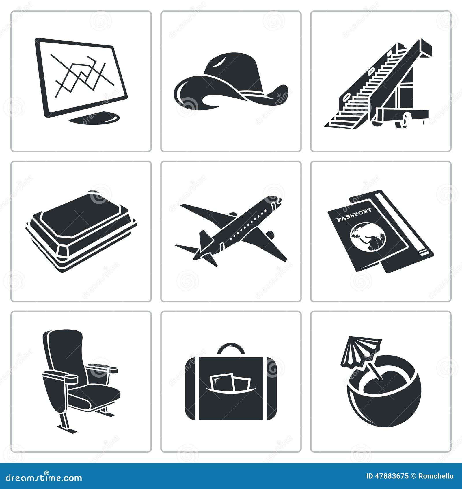 飞机图标集 库存例证