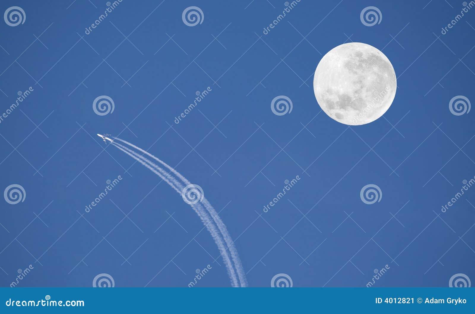 飞机月亮 库存图片 - 图片