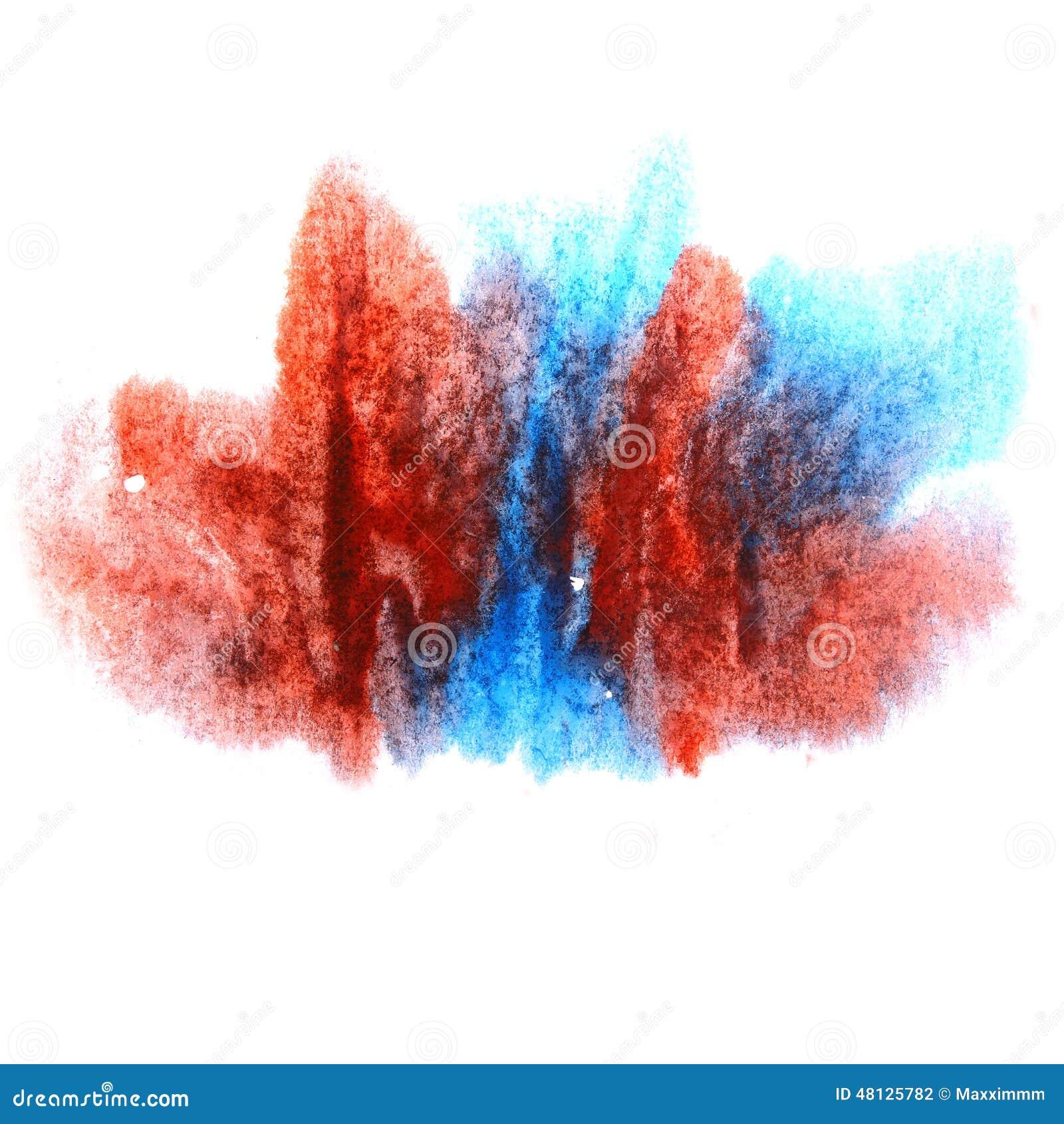 绘飞溅墨水蓝色,红色污点水彩一滴图片