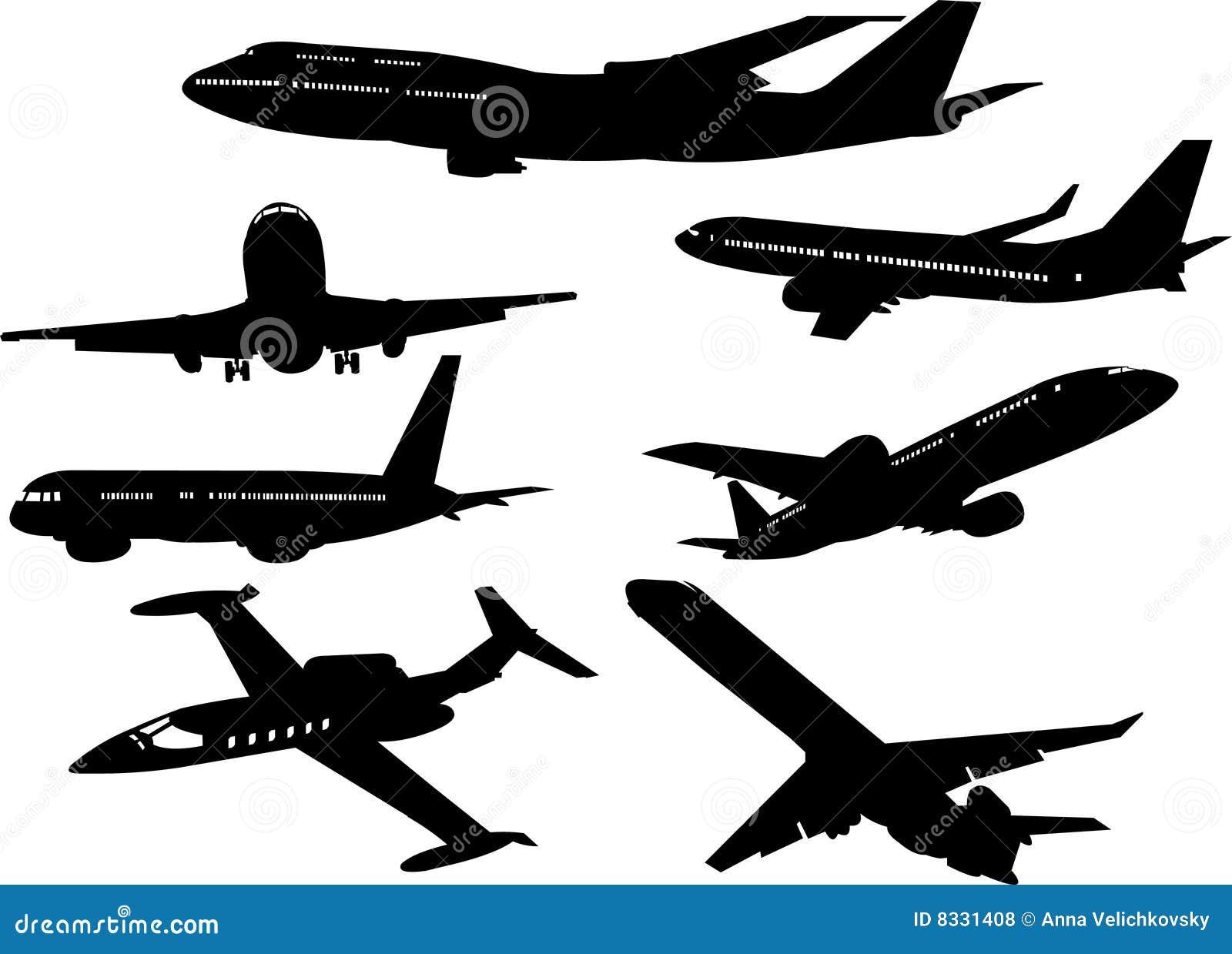 飞机剪影的收集从不同的角度的