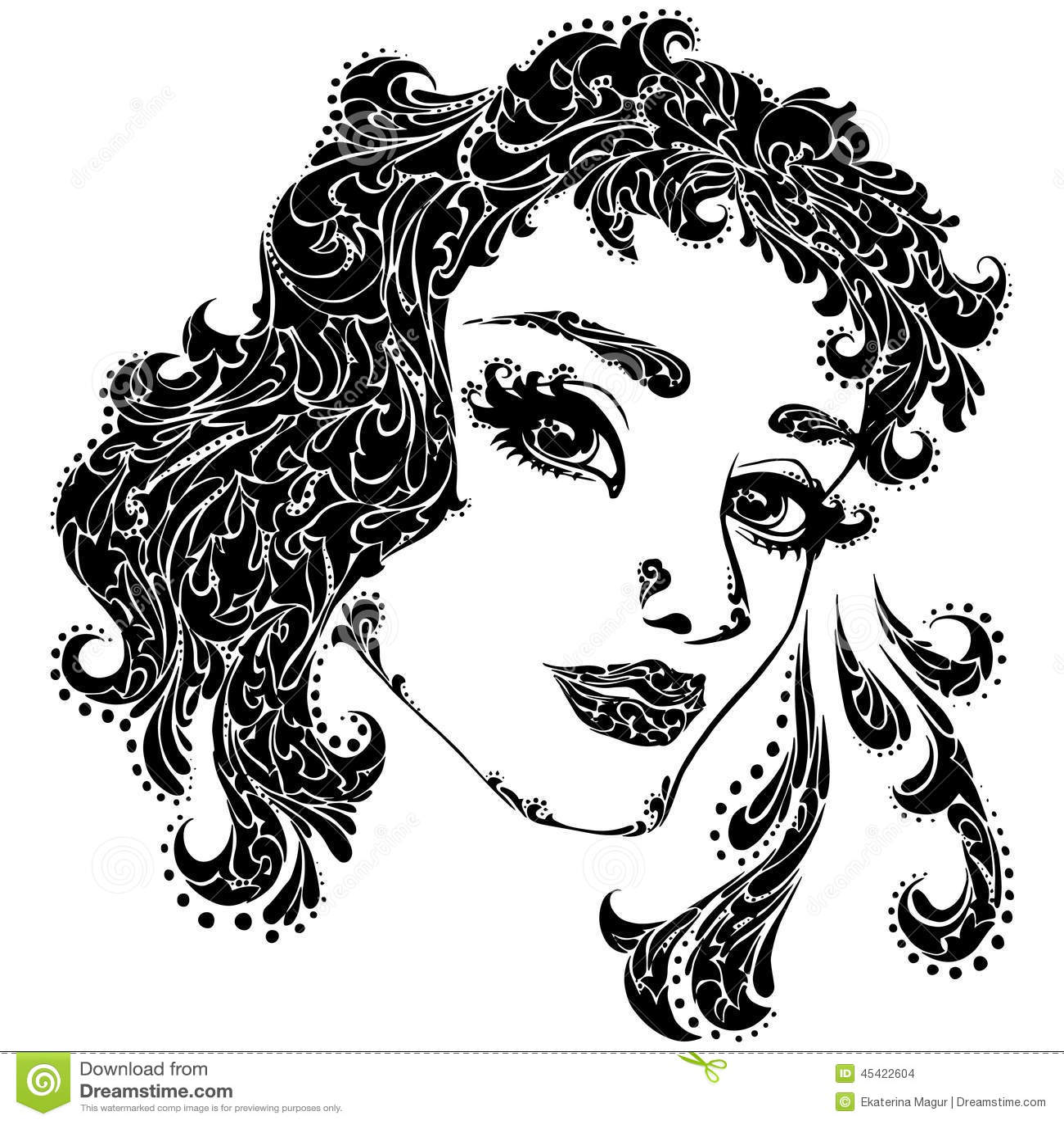 妇女面孔的传染媒介例证纹身花刺的.
