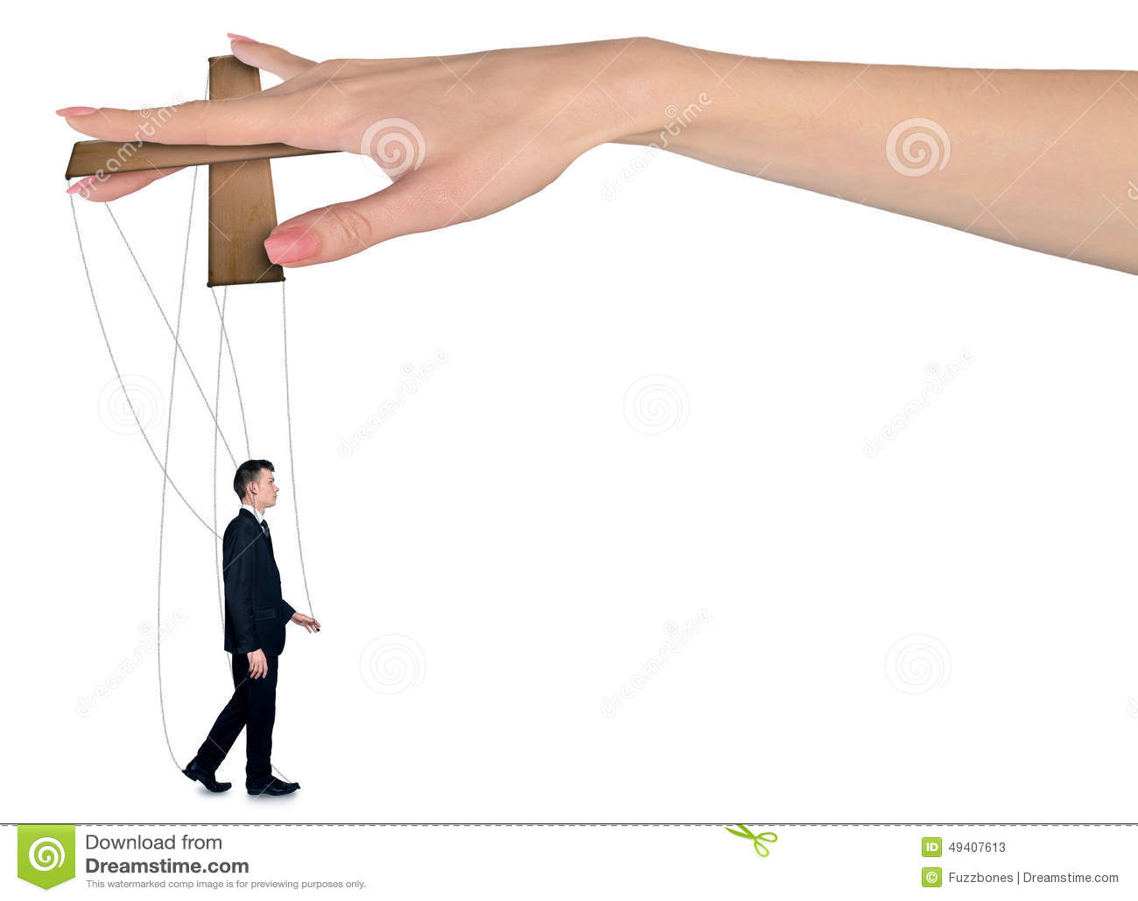妇女手控制人