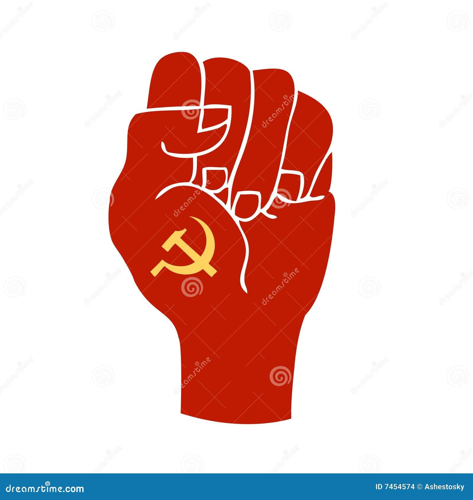 共产主义拳头例证提高了表示的符号向量.