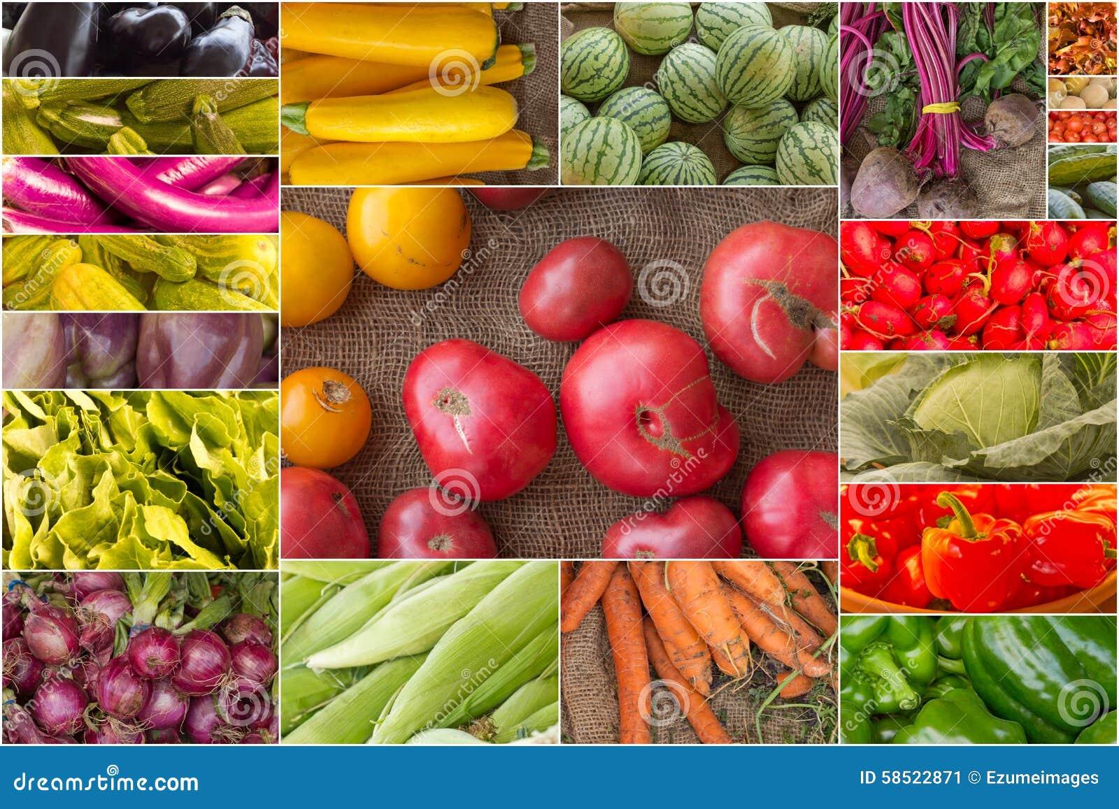 水果和蔬菜拼贴画 库存照片
