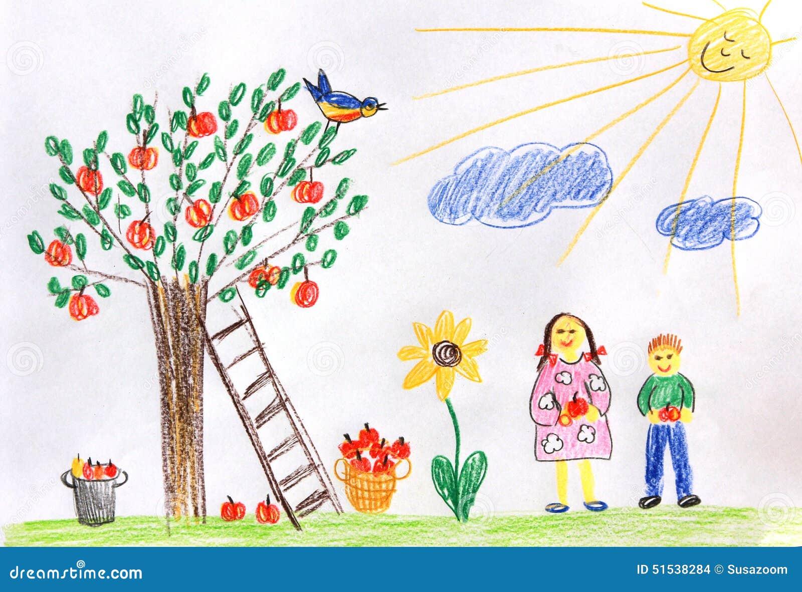 孩子在秋天从事园艺-儿童画