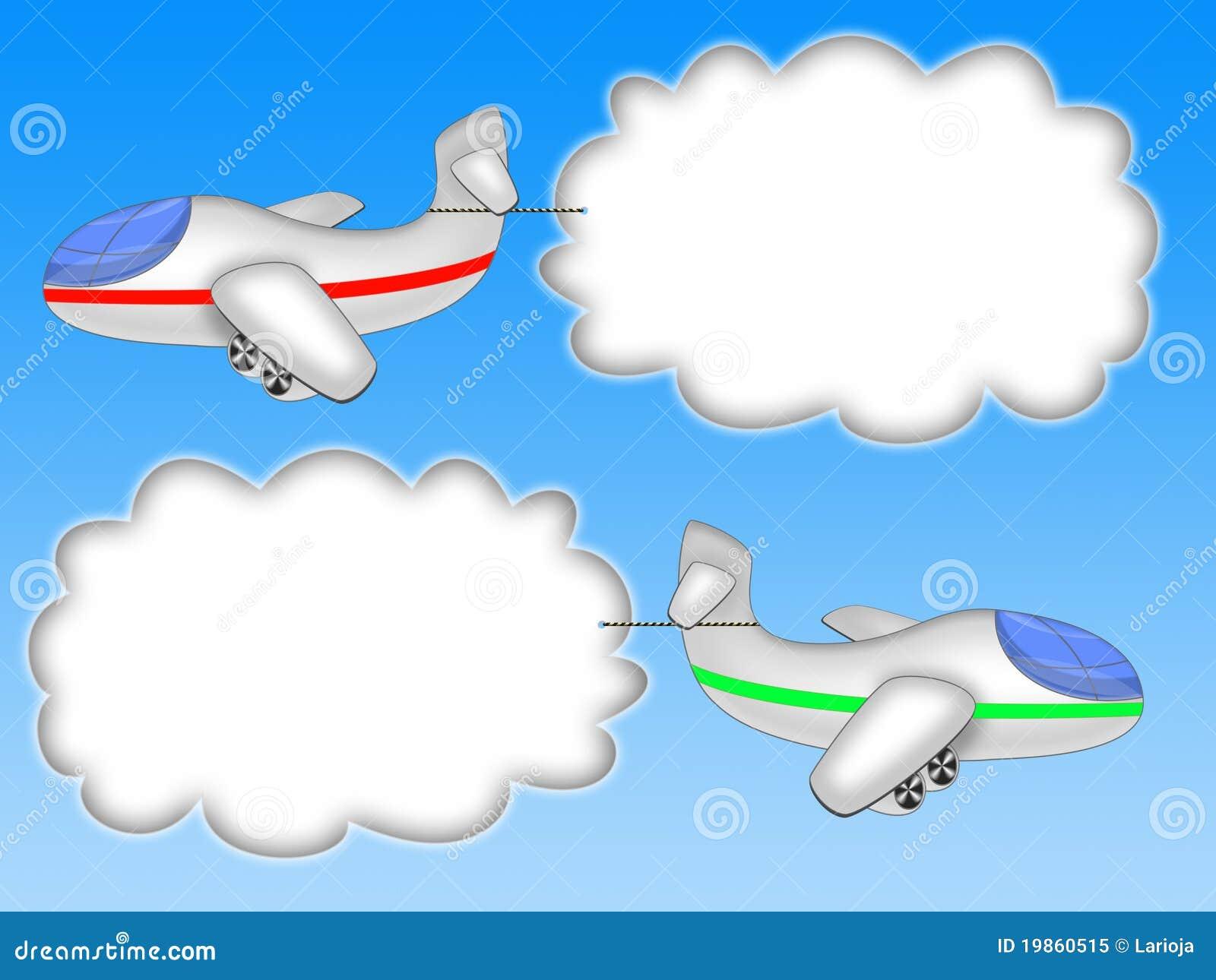 背景横幅蓝色云彩飞机二
