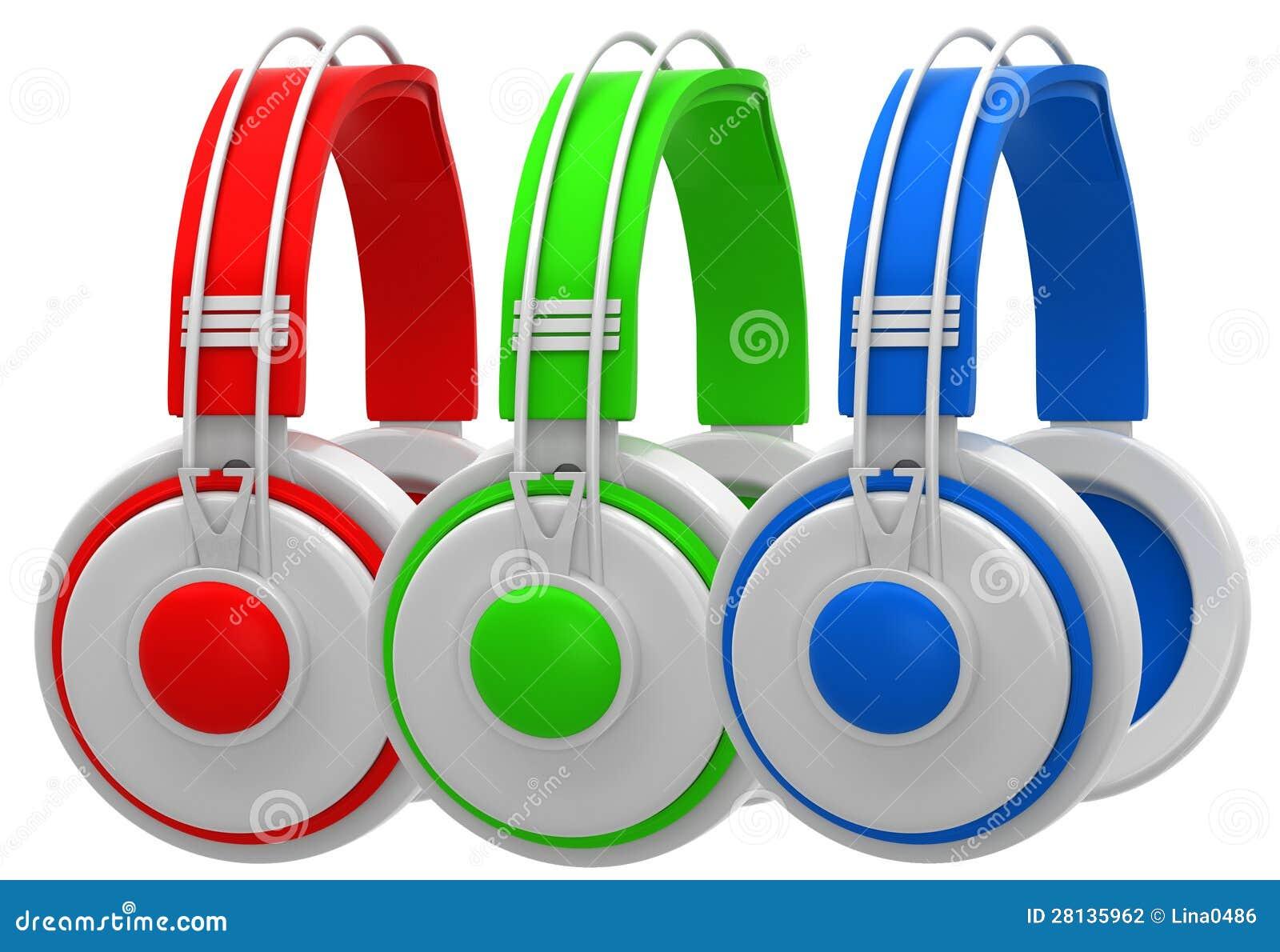 红色,绿色和蓝色耳机 图库摄影