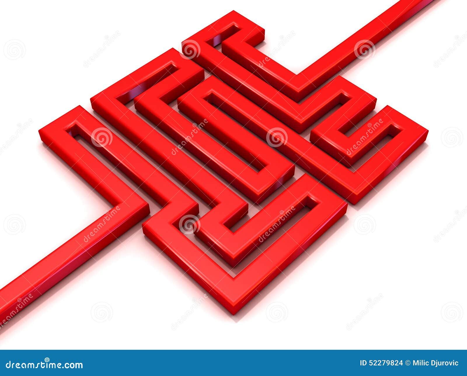 红色道路迷宫 3d背景要素例证问题结构团结白色