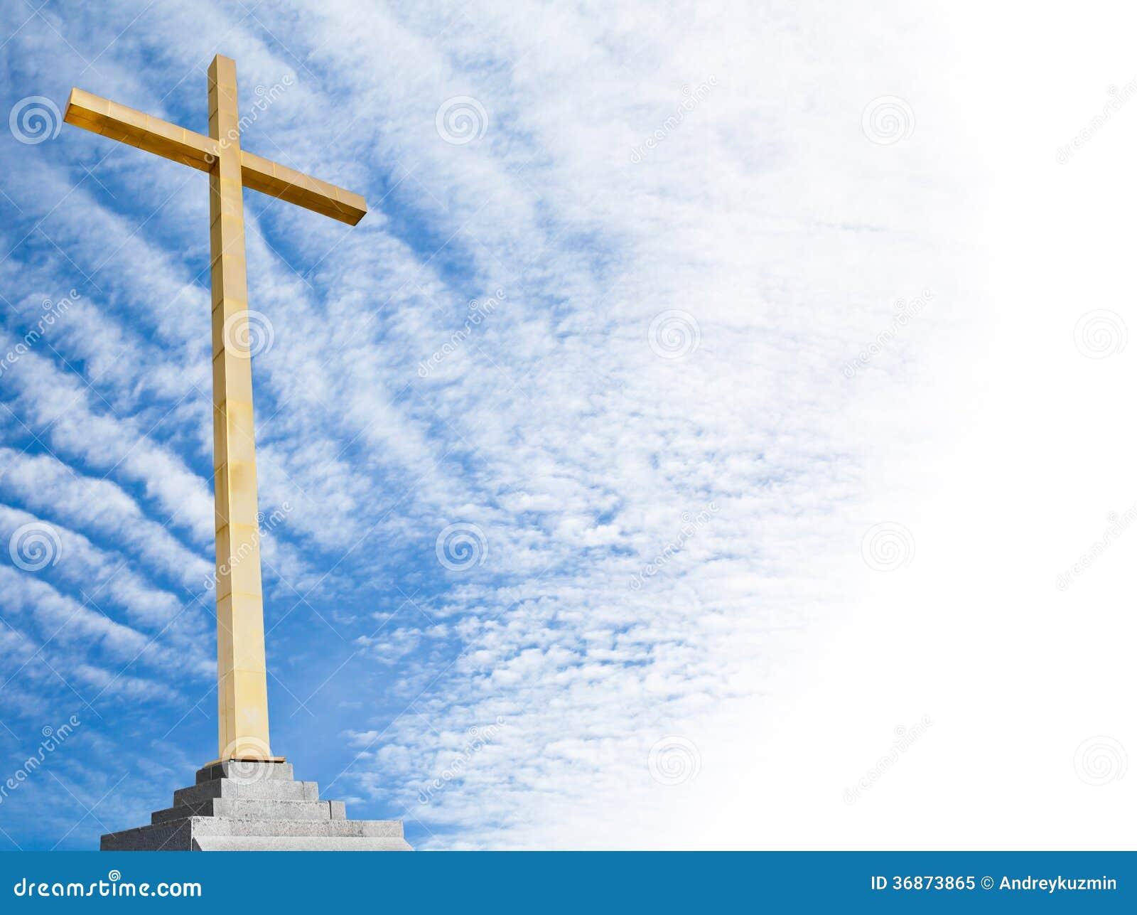 基督徒十字架有天空背景 宗教模板或框架图片