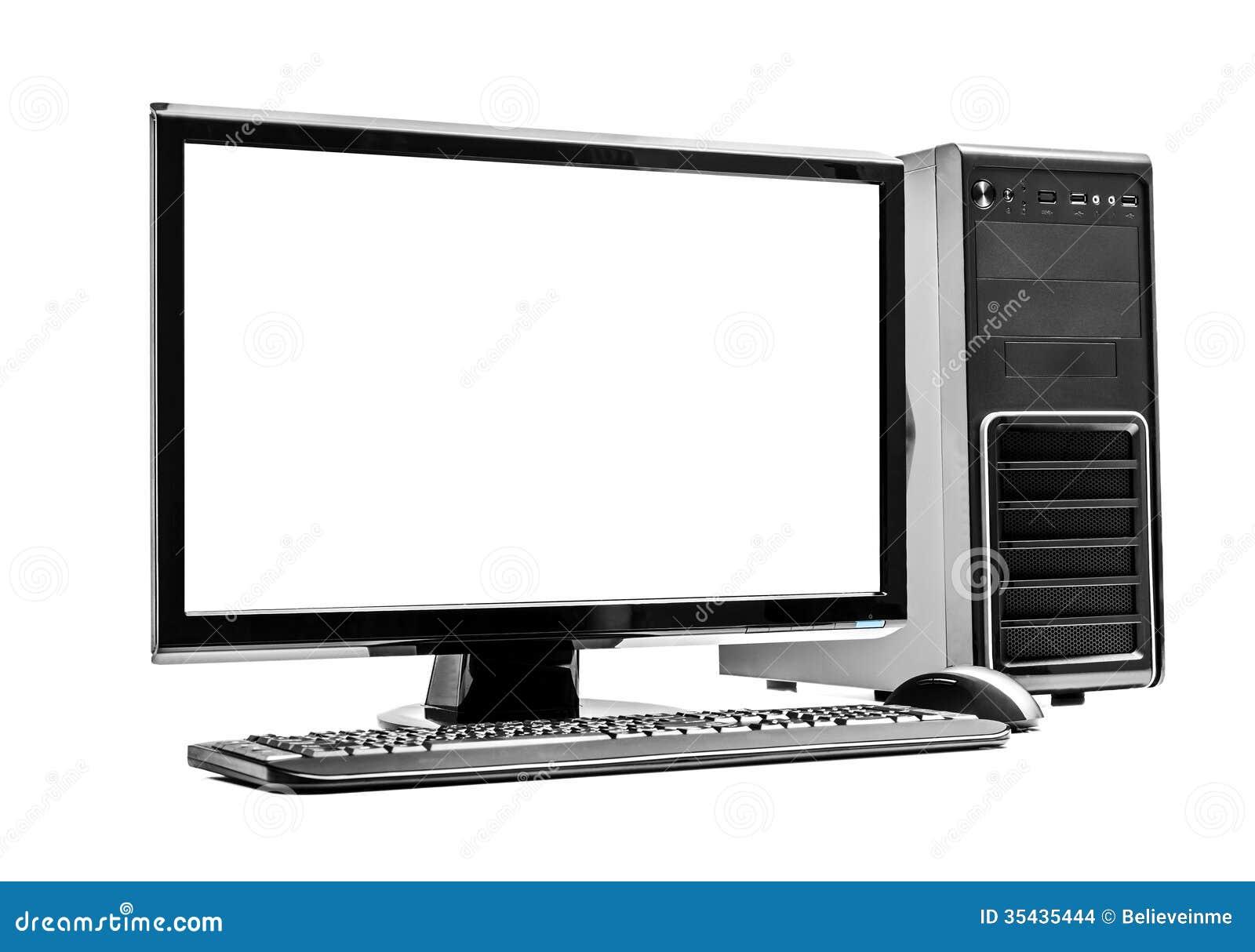台式计算机和键盘和老鼠在白色.图片