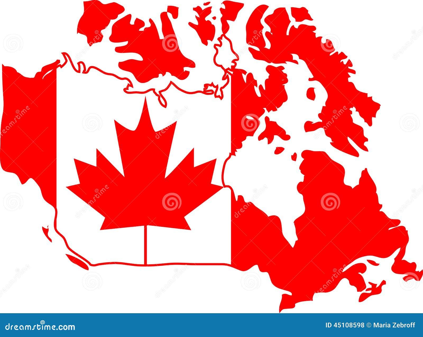 红色和白色加拿大地图