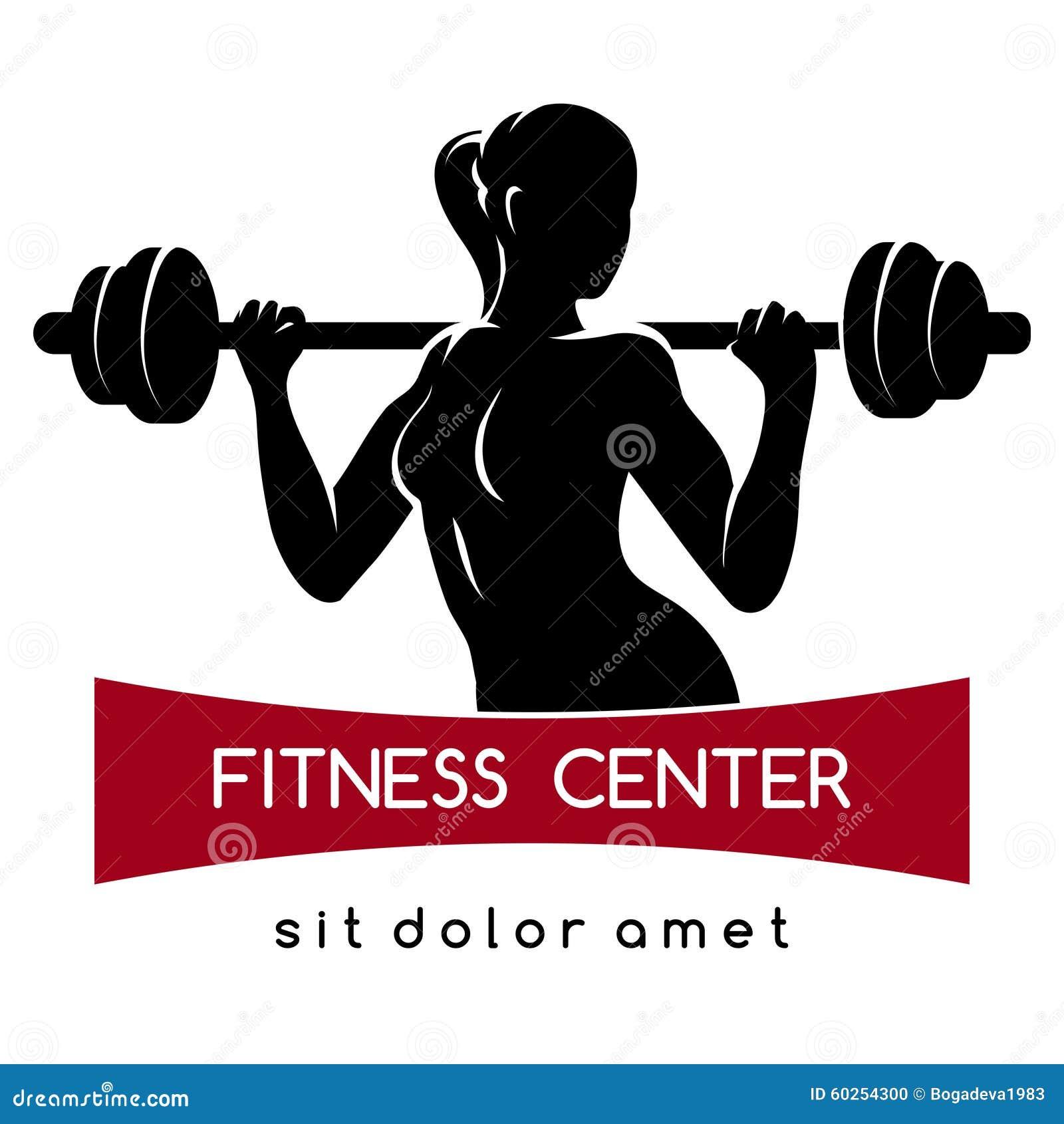 与杠铃的端庄的妇女剪影 健身行使概念 使用的自由字体 在白色.图片