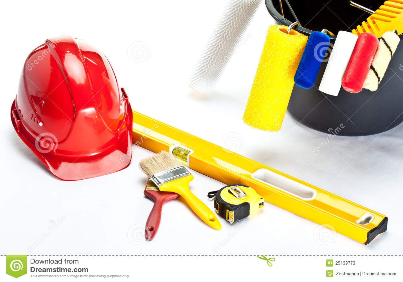 建筑安全帽绘画工具 库存照片图片