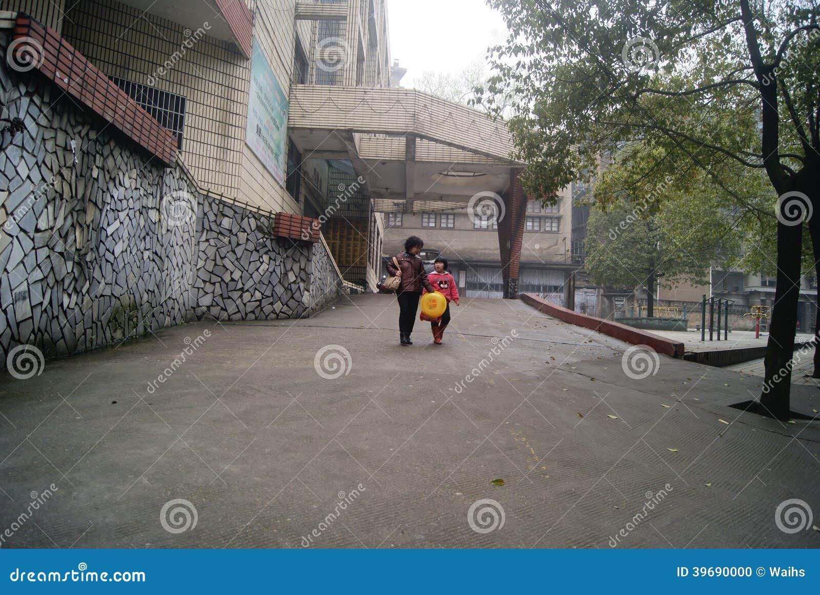 洪江,中国:街道风景