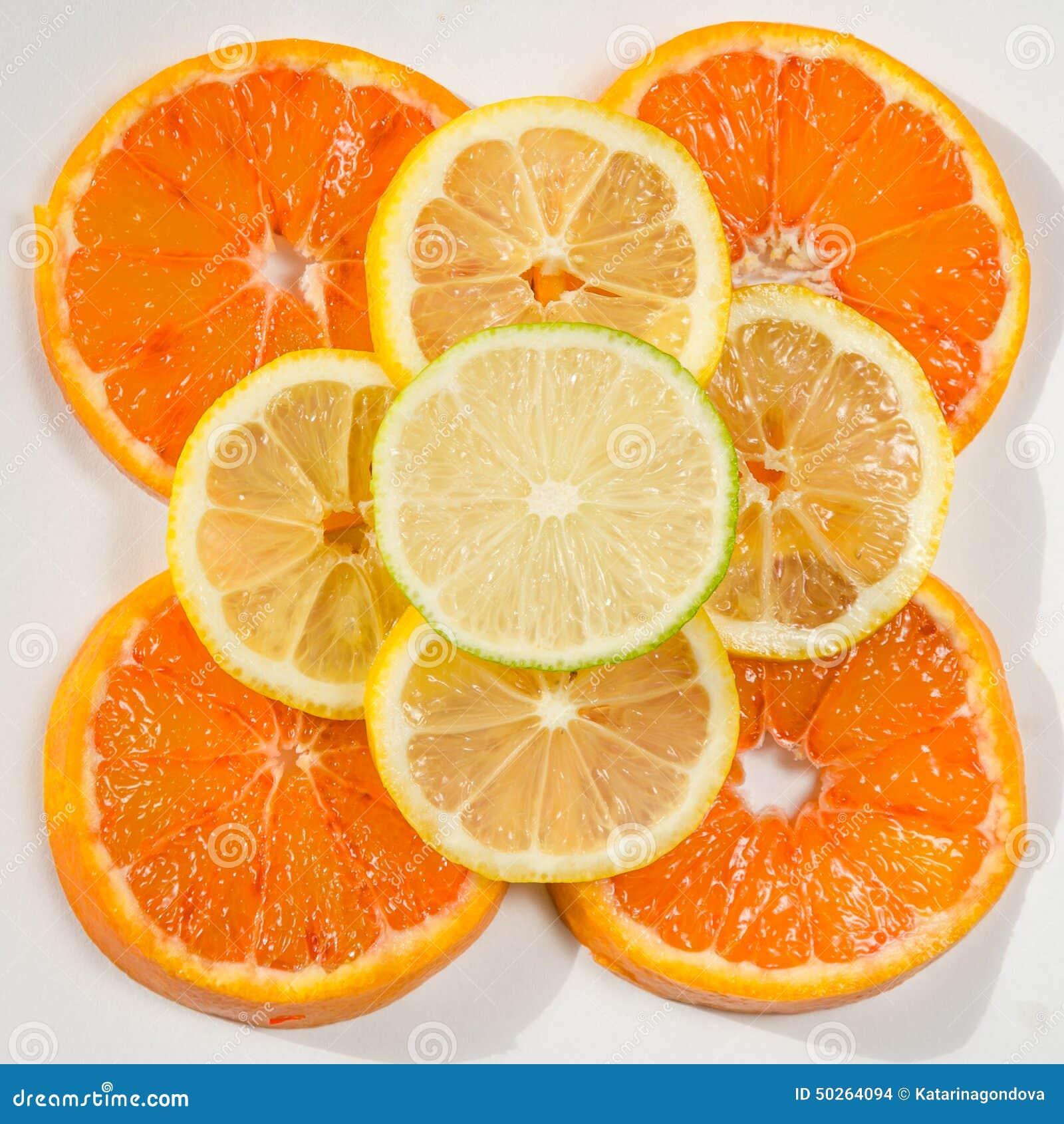 桔子,柠檬,石灰切片