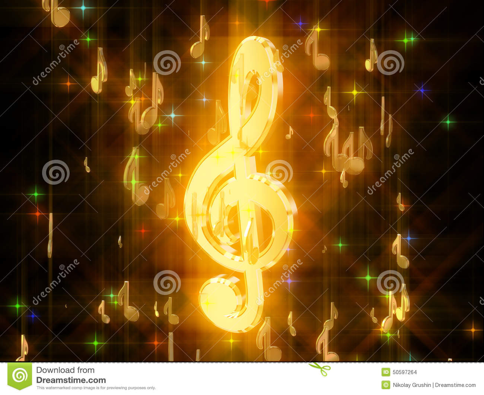 金黄高音谱号,围拢由音乐标志