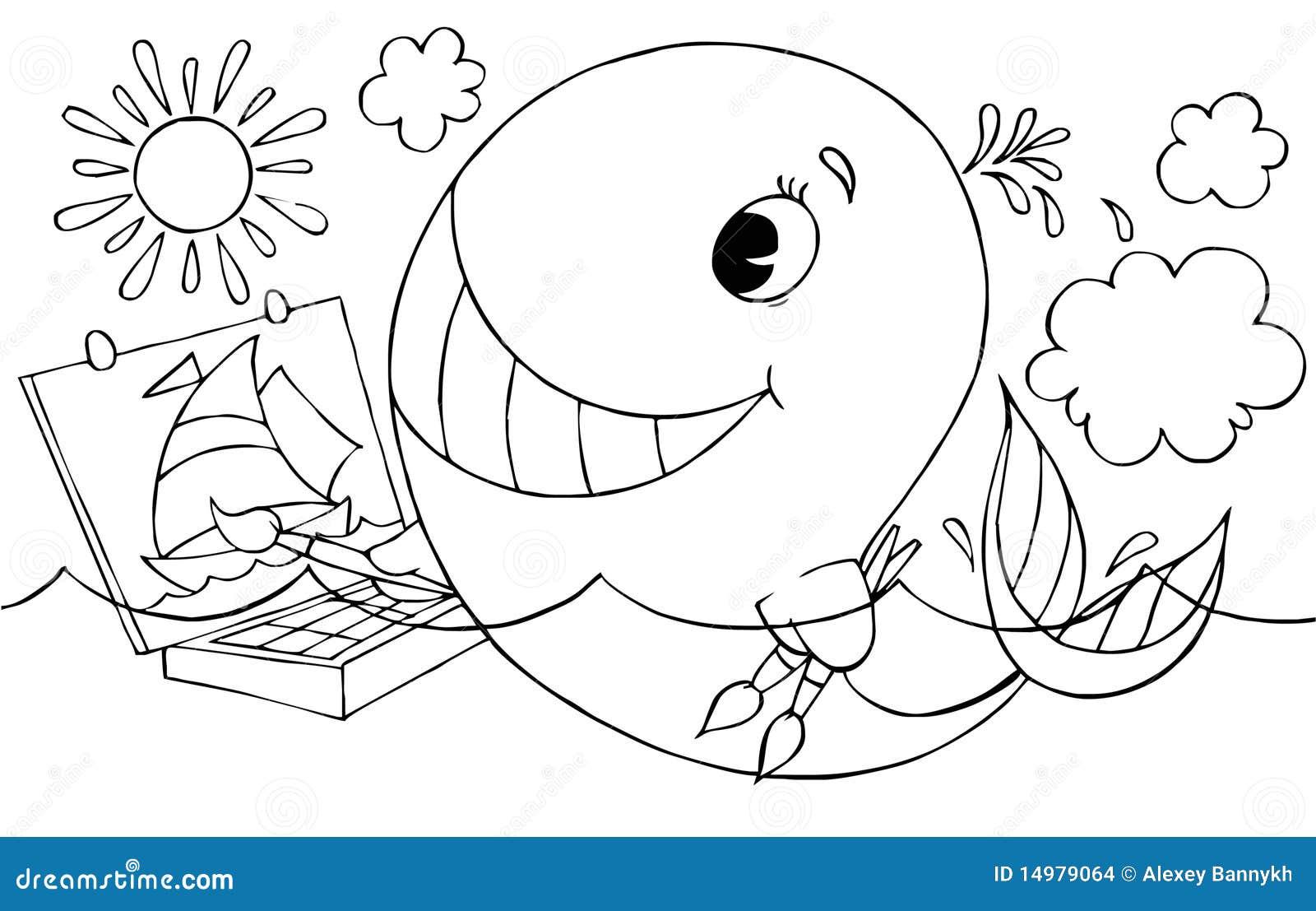 黑白拼贴画鲸鱼图片