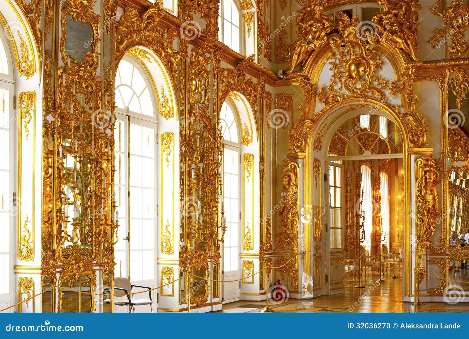 凯瑟琳的宫殿大厅在tsarskoe selo (普希金),俄罗斯.图片