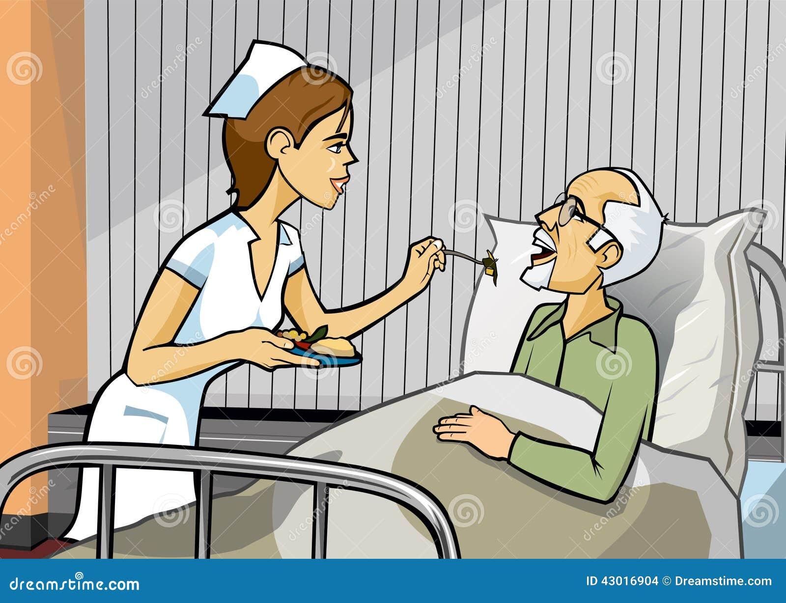 护理供食食物给有灰色放置在医院病床上的头发和山羊胡子的一个年长图片