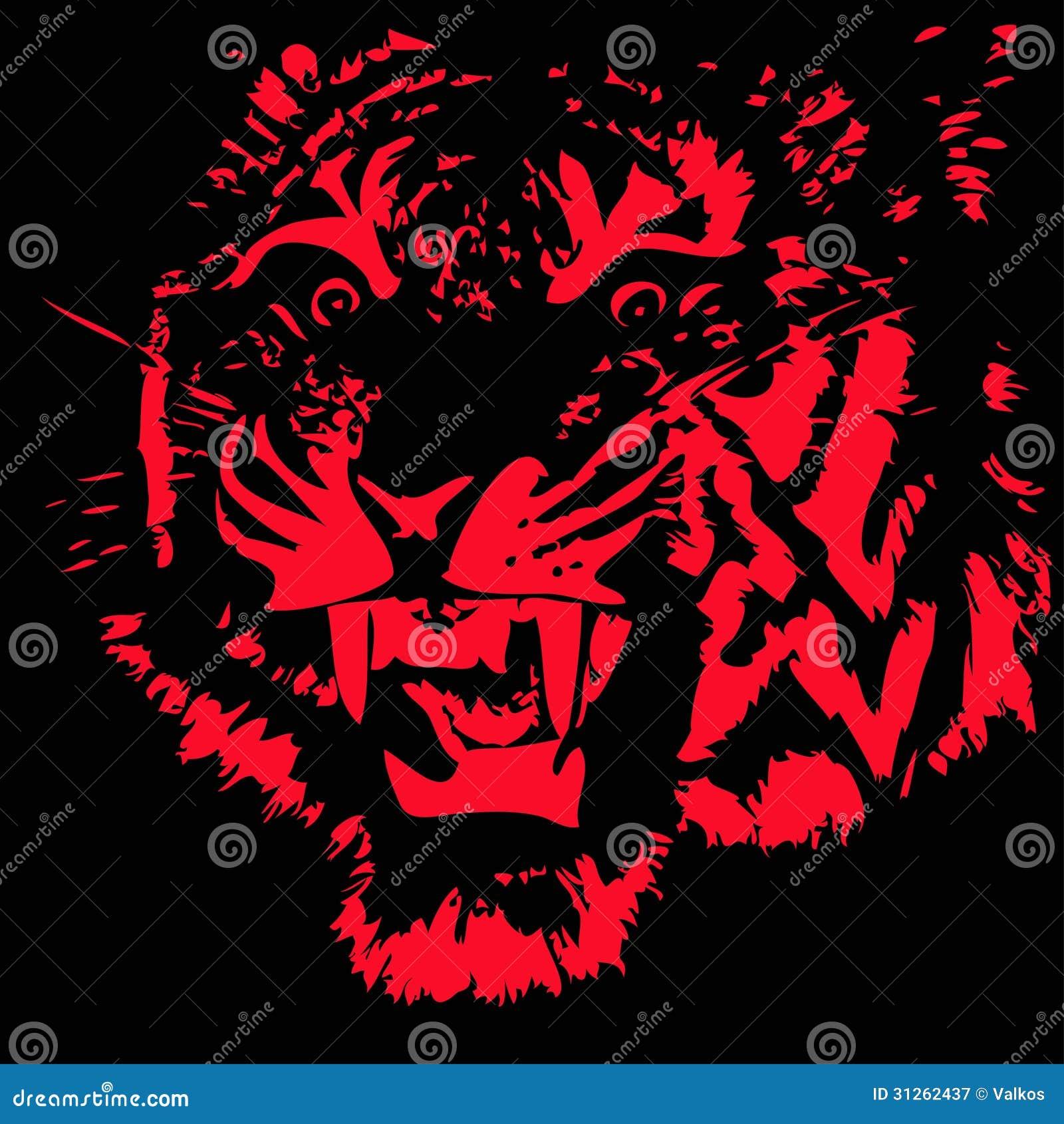 一只老虎的剪影在黑背景的