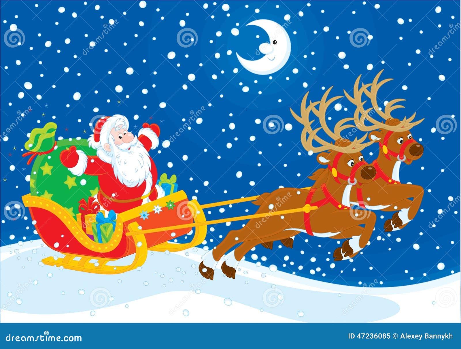 圣诞老人鹿拉雪橇
