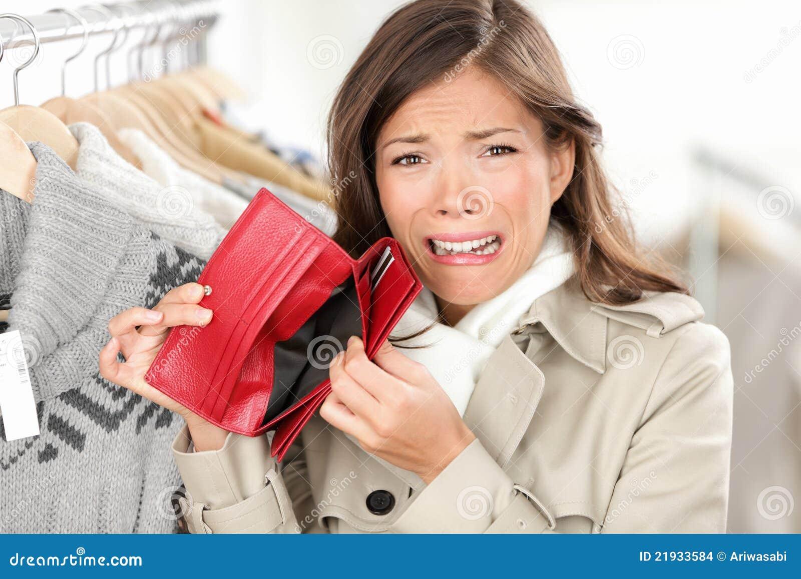 空的货币没有购物钱包妇女
