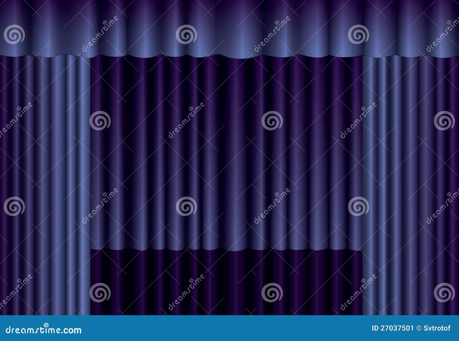 蓝色剧院窗帘 库存图片