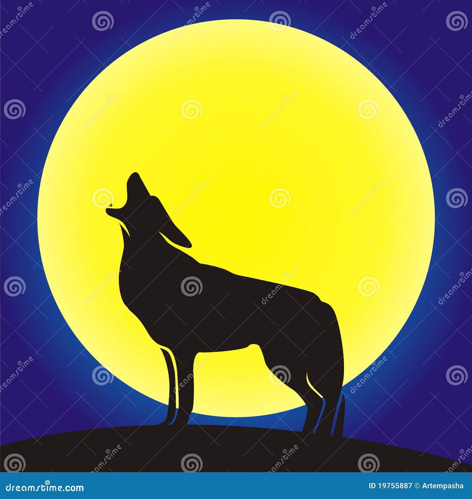 背景嗥叫月亮狼