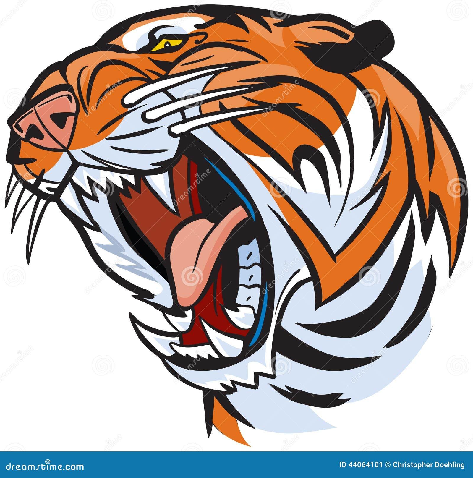 老虎顶头咆哮传染媒介动画片例证