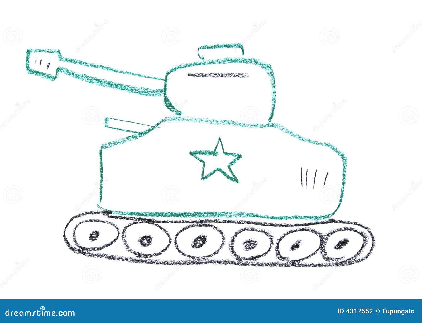儿童蜡笔画做坦克蜡