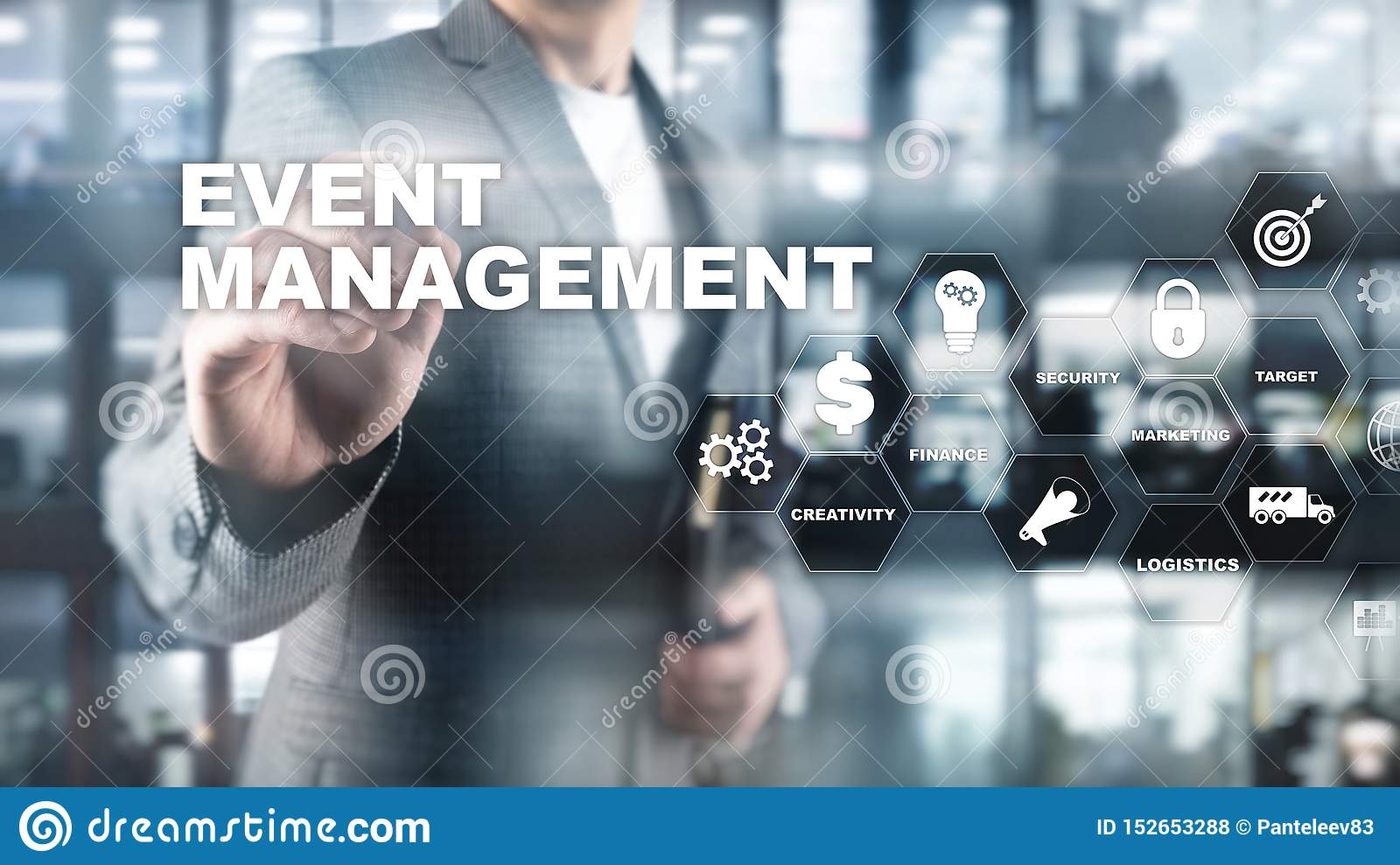 Event management Concept. Event management flowchart. Event management related items. Mixed media business