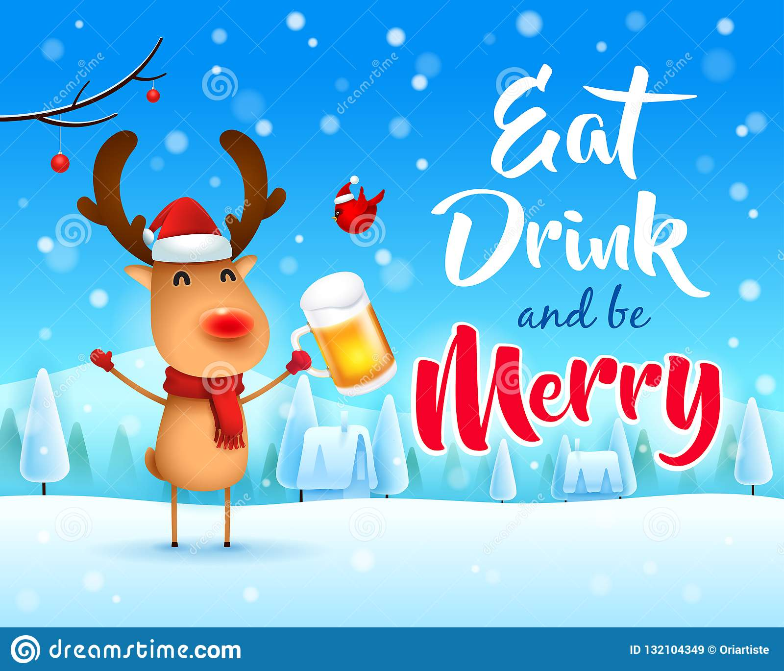 ¡Feliz Navidad! El reno con la nariz roja con la cerveza en paisaje del invierno de la escena de la nieve de la Navidad