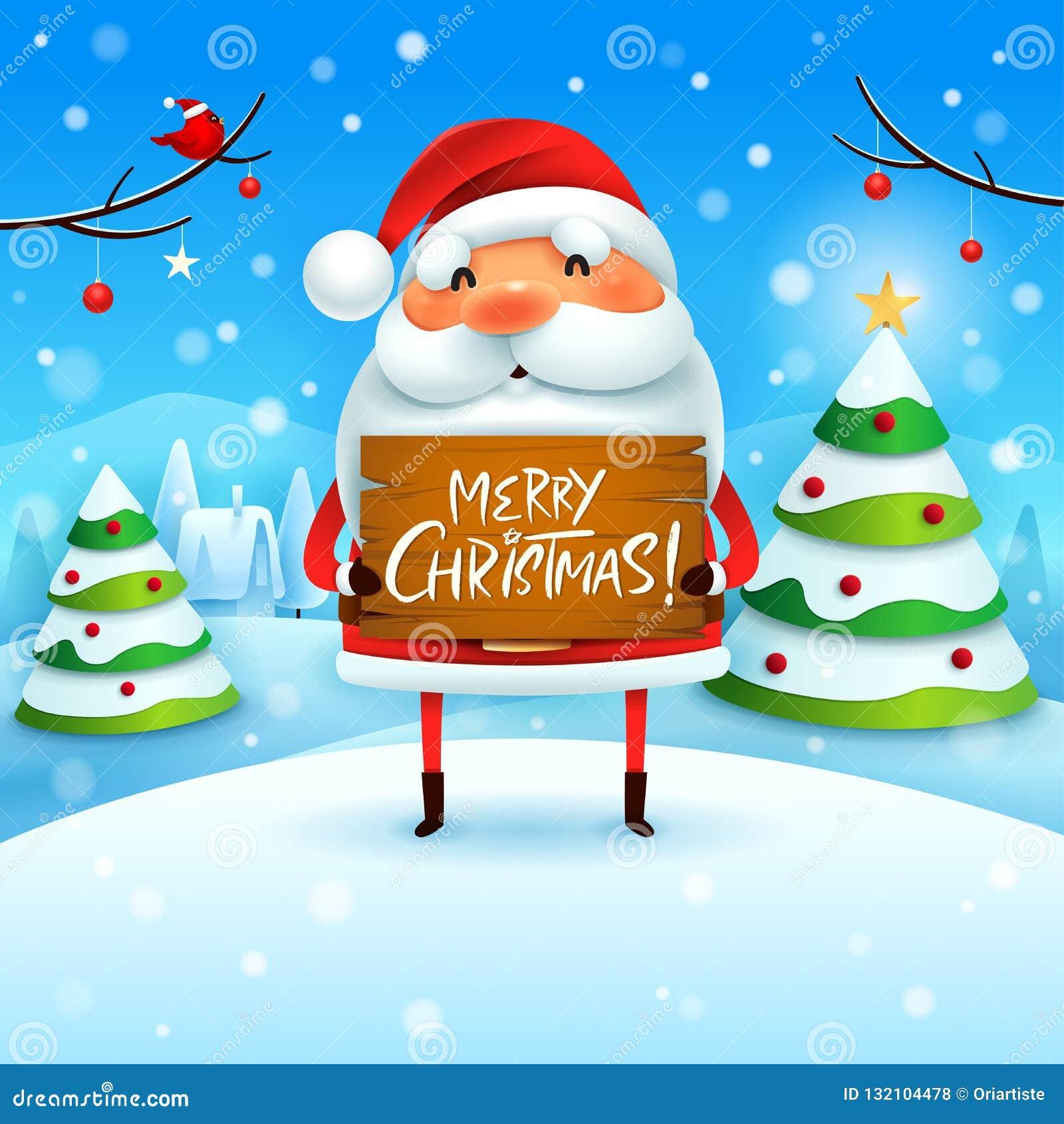 ¡Feliz Navidad! Santa Claus lleva a cabo al tablero de madera firma en paisaje del invierno de la escena de la nieve de la Navida