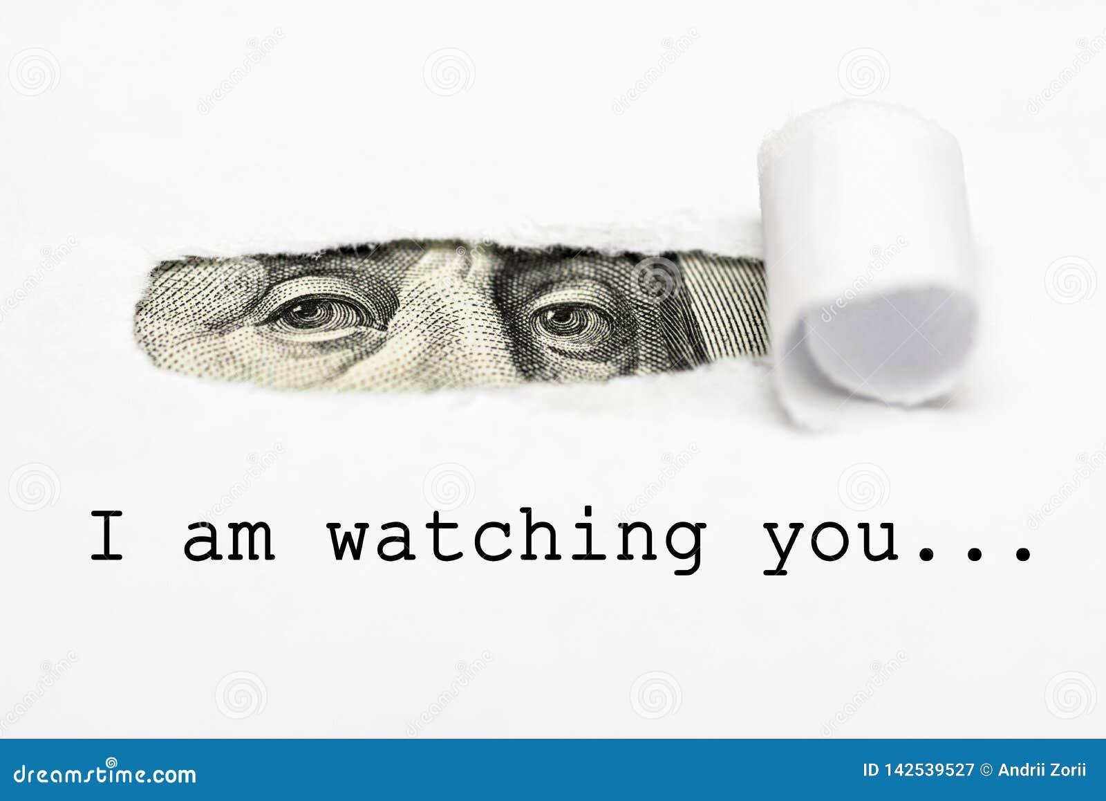 ¡Los ojos de Benjamin Franklin con el texto le estoy mirando! El hermano mayor le está mirando
