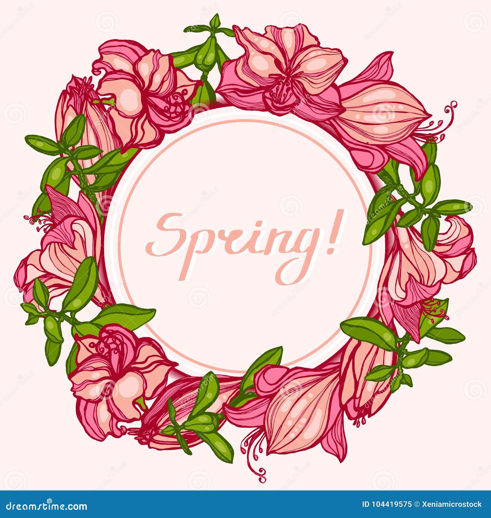 ¡Primavera! Marco redondo con las flores Amaryllis, Hippeastrum y Crassula de los succulents Enhorabuena, tarjeta de la invitació