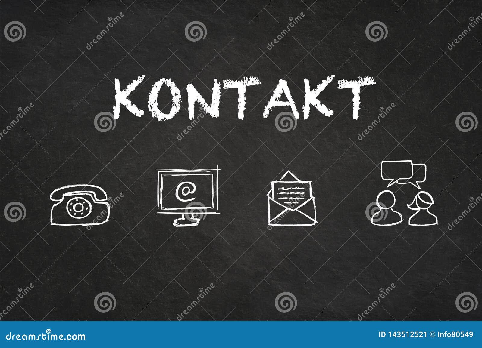 «Kontaktu «tekst i ikony na blackboard Przekład: «kontakt «