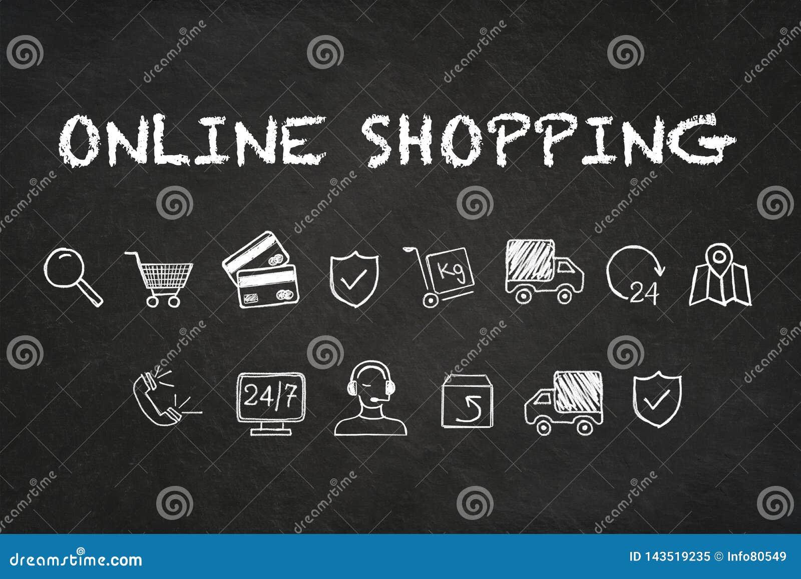 «Online zakupy «tekst i ikony na kredowej deski tle