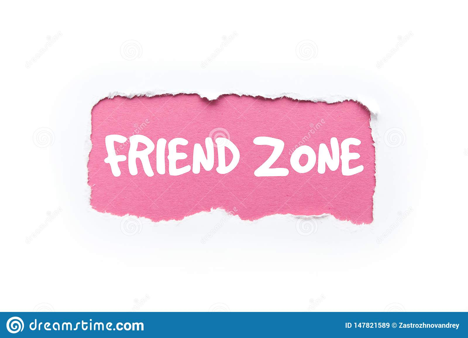 «przyjaciel strefa «w poszarpanym białym i różowym tle