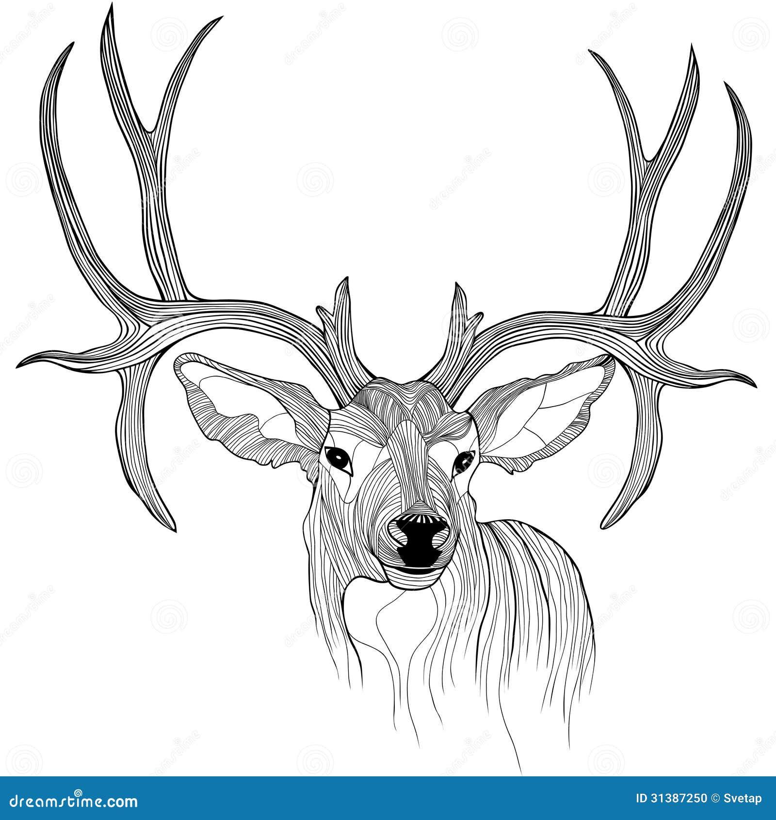 t恤杉的鹿顶头传染媒介动物例证.剪影纹身花刺设计.