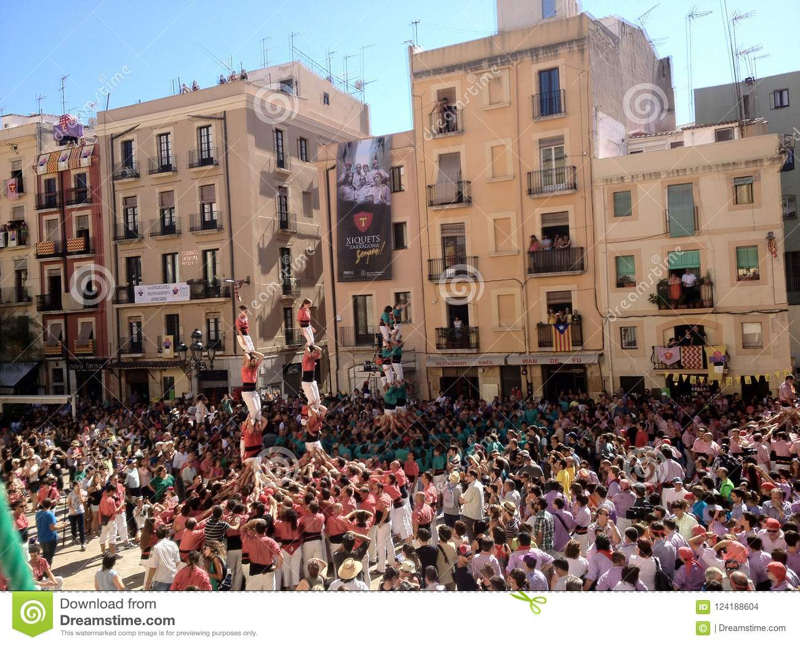 ¿Tarragona, España -?? setptember 16, 2012: remolque humana tradicional