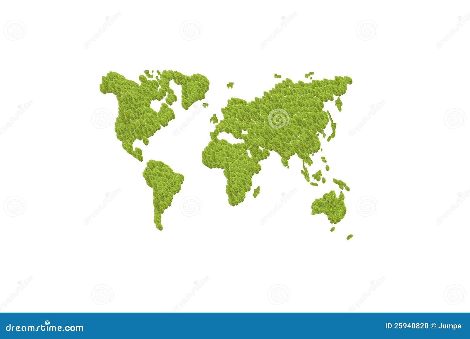 绿色生叶世界地图 库存照片