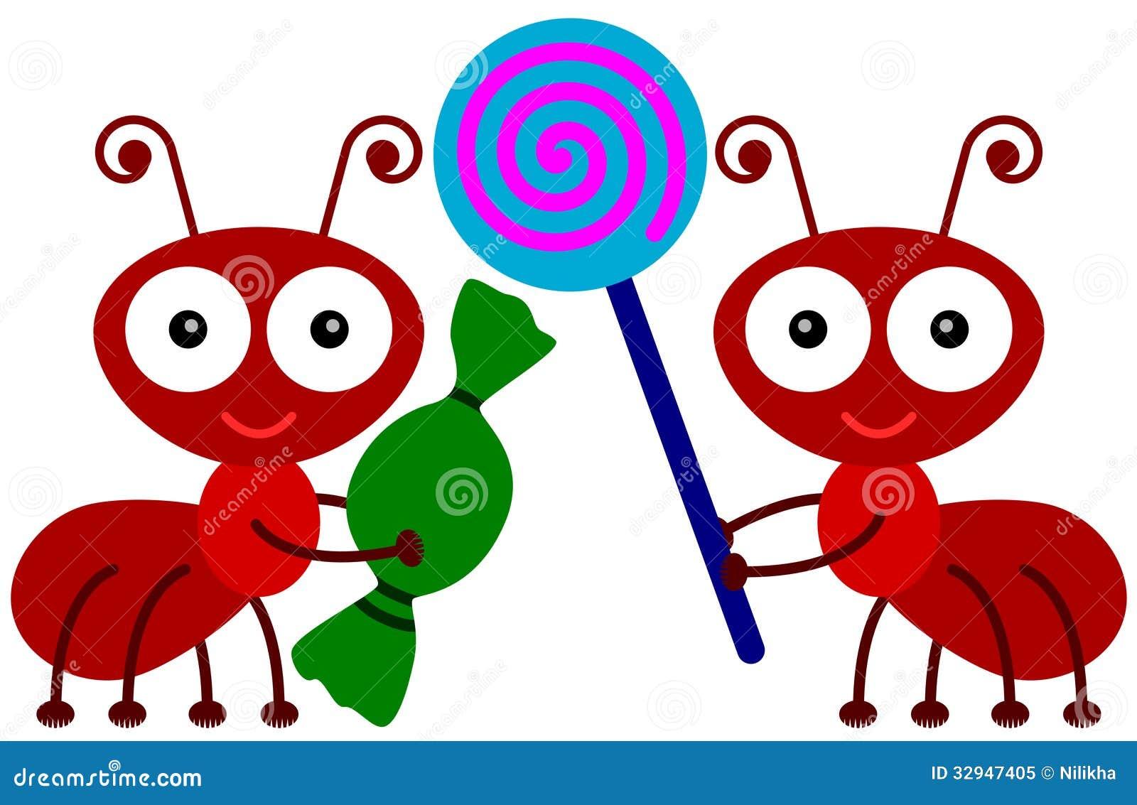 蚂蚁爱糖果 免版税库存照片