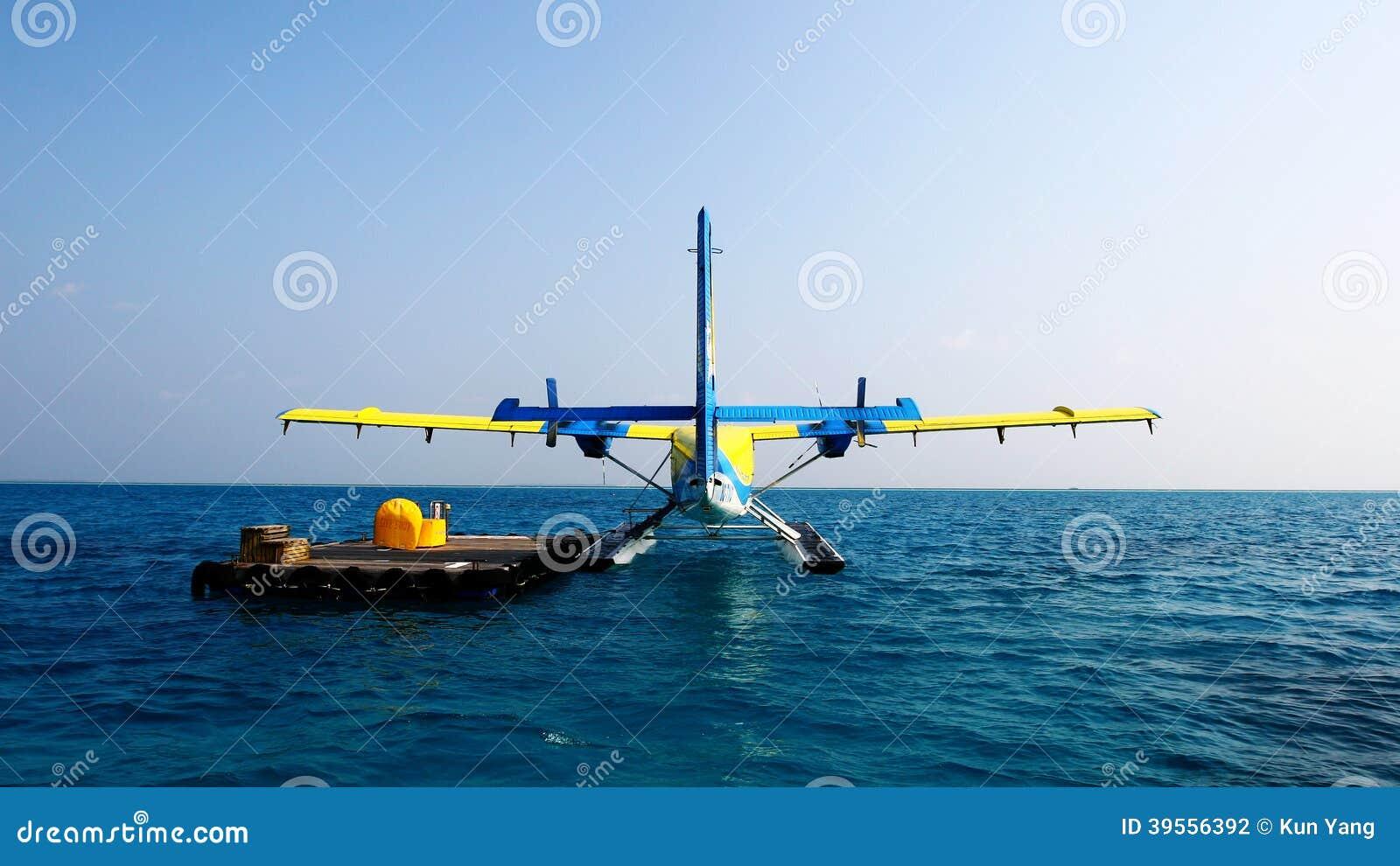 马尔代夫水上飞机 图库摄影片