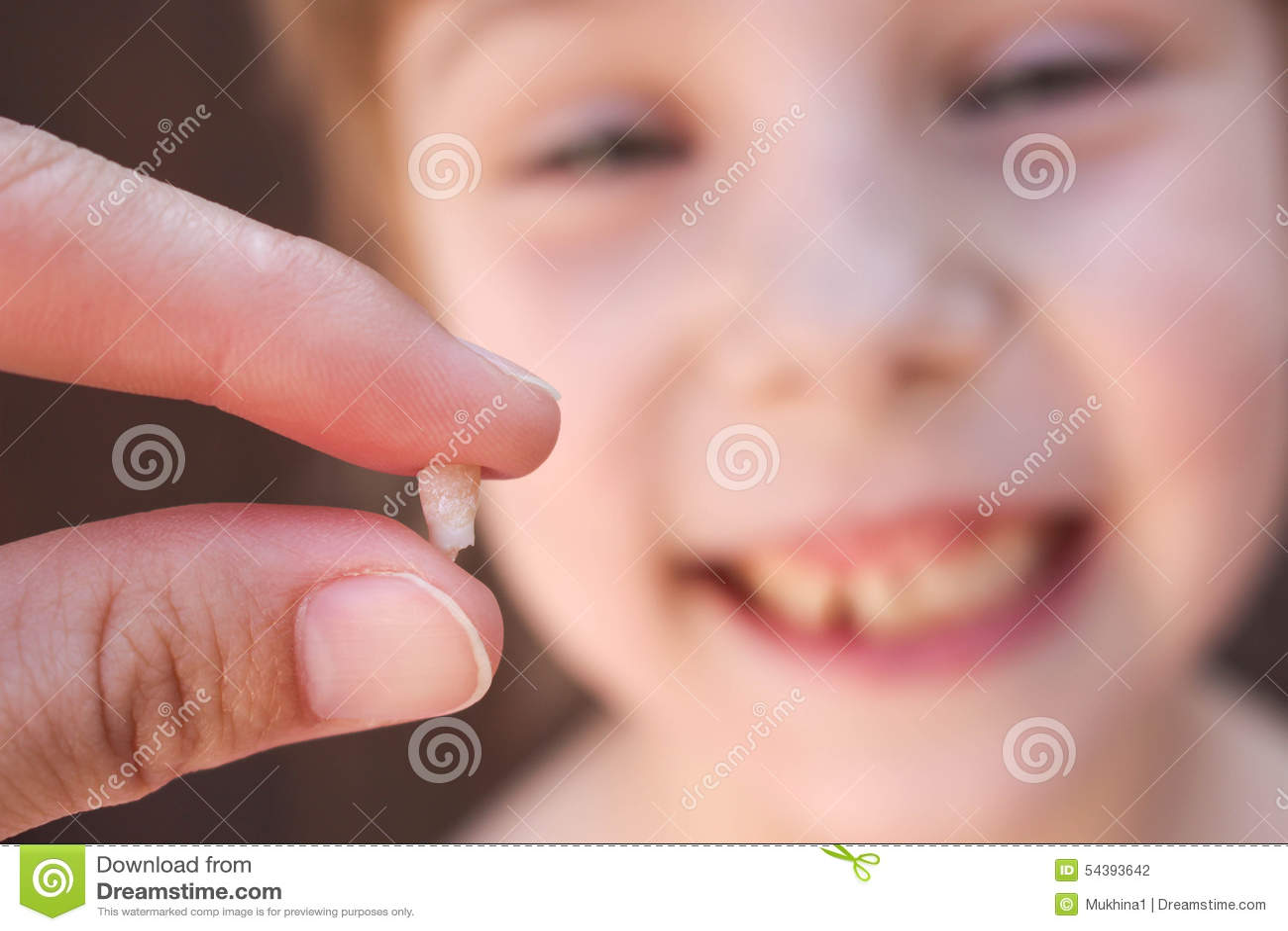 À 6 années l enfant a perdu la dent de lait La fille tient la dent dans sa main