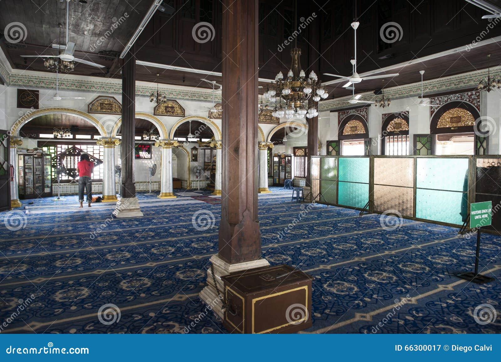 À l intérieur d une mosquée sur la ville de Melaka, la Malaisie
